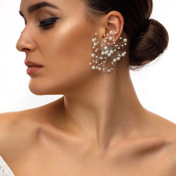 Alloy ear stud, shell pearls, for pierced ears.