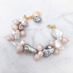 Shell pearl, keshi pearls, sun brass, clasp – stainless steel 304.