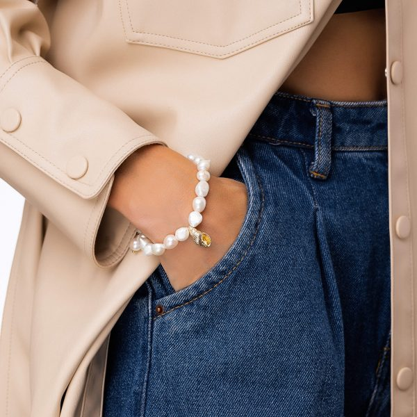 Freshwater pearl, shell — brass with real gold plated, chain, clasp — stainless steel 304