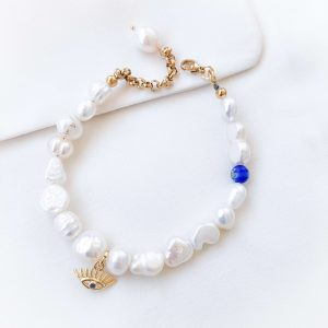 Freshwater pearls, eye — brass cubic zirconia, chain, clasp — stainless steel 304.