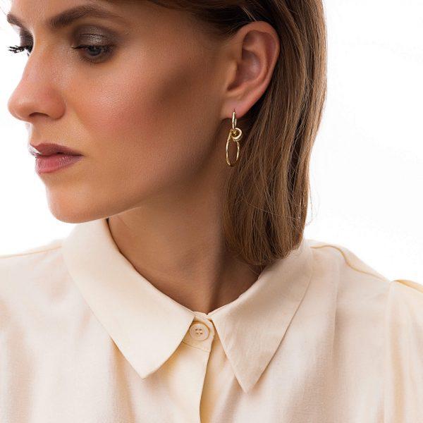 Ear stud – stainless steel 304, brass — hoop, for pierced ears.