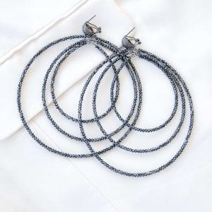 Alloy ear stud, glass beads, for pierced ears.