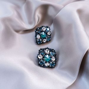 Embroidered earrings with Swarovski crystals