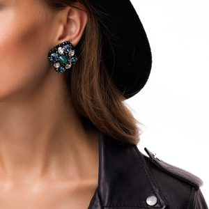 Real leather, Swarovski crystals, ear stud – stainless steel 304, for pierced ears.