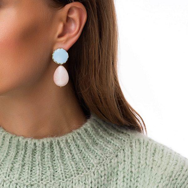 Alloy ear stud with enamel, natural Jude, pin — steel, for pierced ears.