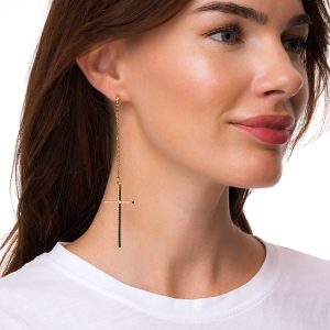 Brass ear stud with 925 sterling silver pins, real gold plated, brass cross with cubic zirconia, for pierced ears