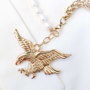 Natural Jade, eagle pendant, chain, clasp – stainless steel 304.