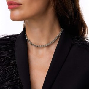 Swarovski crystals, glass beads, chain, clasp – stainless steel 304.