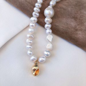 Freshwater pearl, shell — brass with real gold plated, chain, clasp – stainless steel 304.