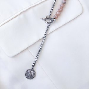 Agate, pendant, chain, ring toggle clasps stainless steel 304.