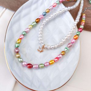 Freshwater pearl, chain, clasp – stainless steel 304.
