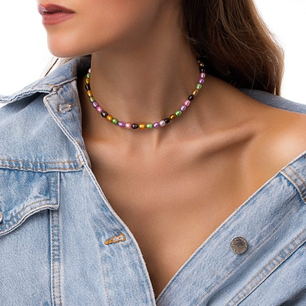 Freshwater pearl, chain, clasp – stainless steel 304