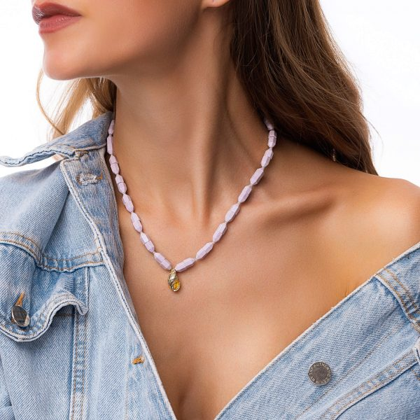 Natural agate, shell — brass with real gold plated, chain, clasp – stainless steel 304.
