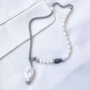 Freshwater pearl, natural keshi pearl, brass link with cubic zirconiа, chain, clasp — stainless steel 304.