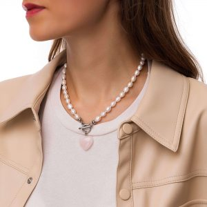 Freshwater pearl, heart – quartz, chain, ring toggle clasps stainless steel 304.