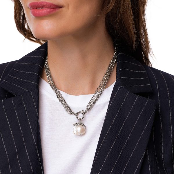 Natural keshi pearl, chain rhinestone strass with stainless steel 304, chain, clasp — stainless steel 304.