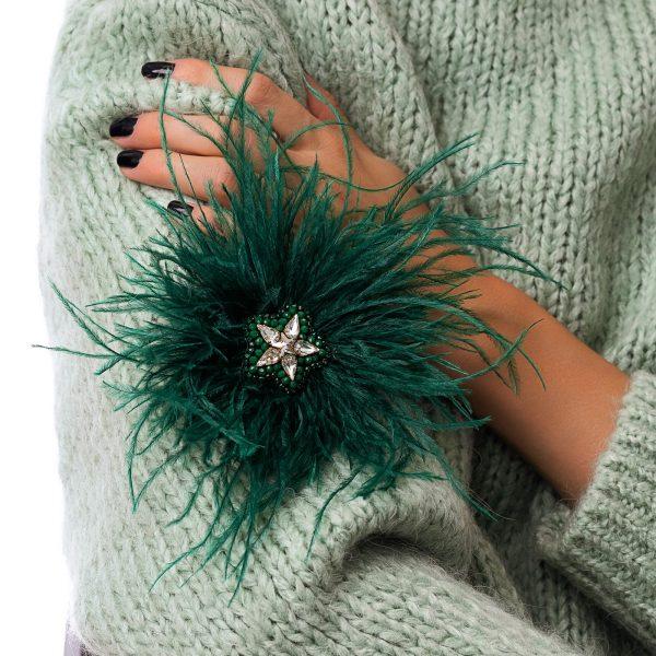 Feather brooch with Swarovski crystal