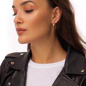Brass ear stud, freshwater pearls, for pierced ears