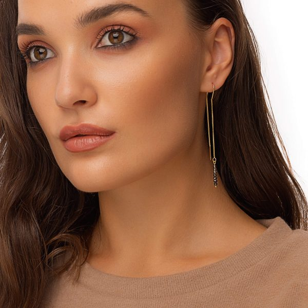 Brass ear stud, glass beads, for pierced ears
