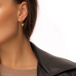 Brass ear stud, long – lasting plated, quartz, for pierced ears.