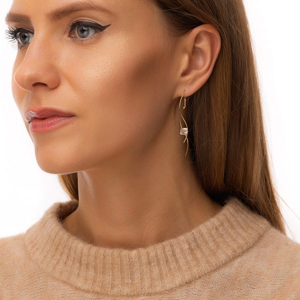 Threads — brass with real gold 18k plated, quartz, for pierced ears
