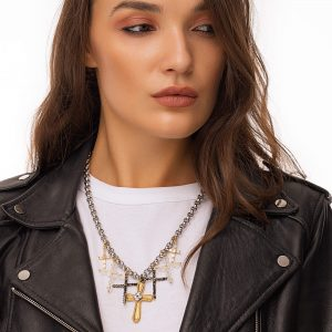 Cross – brass with cubic zirconia long – lasting plated, Swarovski crystals, glass beads, chain, clasp – stainless steel 304
