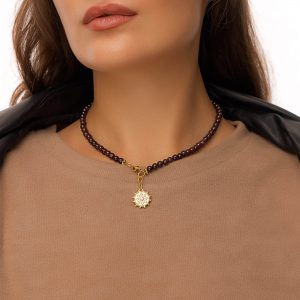 Natural garnet, pendant — brass with cubic zirconia, chain, clasp — stainless steel 304