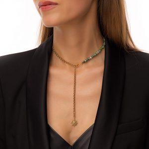 Naturaljasper, sun — brass with cubic zirconia, chain, clasp — stainless steel 304