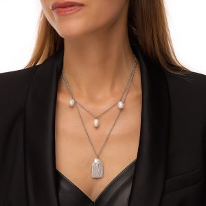 Freshwater pearl, natural keshi pearl, chain, clasp — stainless steel 304.