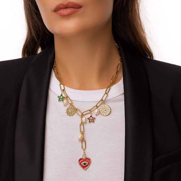 Freshwater pearl, heart — brass with cubic zirconia and enamel, pendant — brass with cubic zirconia, chain, clasp — stainless steel  304