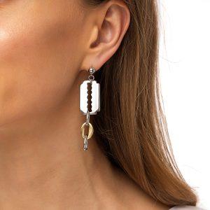 Ear stud stainless steel, razor, chain – stainless steel 304.