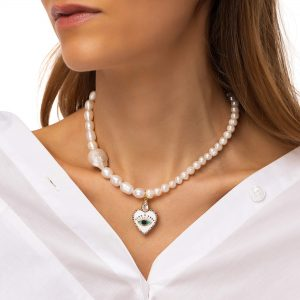 Freshwater pearl, heart — brass with cubic zirconia and enamel, chain, clasp — stainless steel 304