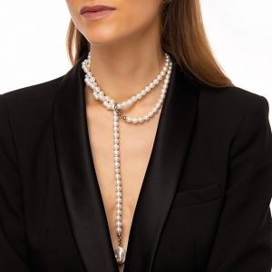 Shell pearls, natural keshi pearl, clasp — stainless steel 304.