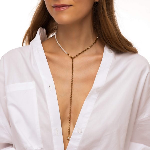 Freshwater pearl, sun — brass with real 18k gold plated, chain, clasp — stainless steel 304.