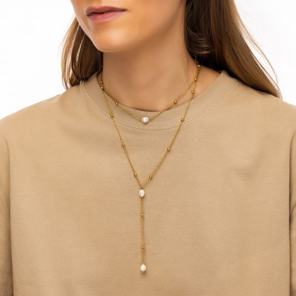 Freshwater pearl, chain, clasp — stainless steel 304