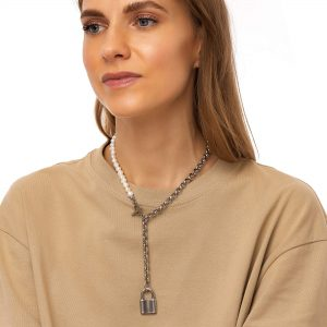 Freshwater pearl, pendant padlock, chain, clasp — stainless steel 304.