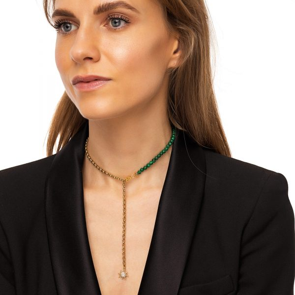 Malachite, sun — brass with real 18k gold plated, chain, clasp — stainless steel 304