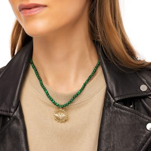 Malachite, pendant — brass with cubic zirconia, chain, clasp — stainless steel 304