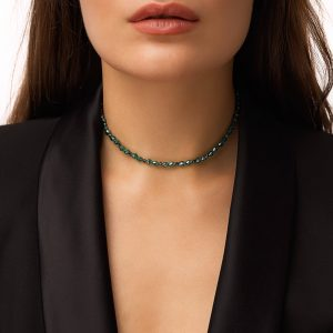 Glass beads, chain, clasp — stainless steel 304.