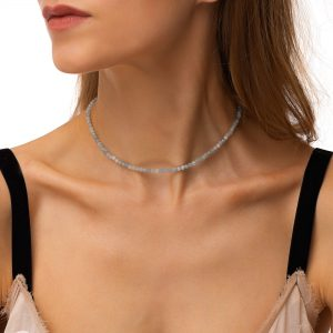 Natural aquamarine, chain, clasp – stainless steel 304.