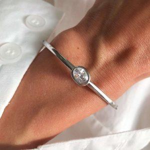 Brass with cubic zirconia, adjustable bracelet stainless steel 304.