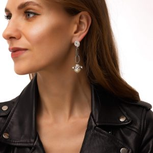 Brass ear stud, chain rhinestone strass with stainless steel 304, shell pearl, for pierced ears.