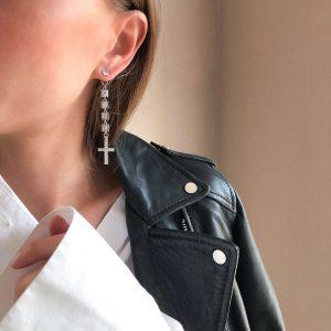 Ear stud – stainless steel 304, cross – brass with cubic zirconia, brass link with cubic zirconiа, for pierced ears.