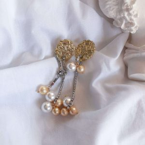 Alloy ear stud, pin – stainless steel 304, shell pearl, textured shell pearl, for pierced ears.