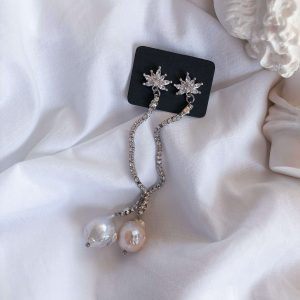 Brass ear stud, chain rhinestone strass with stainless steel 304, natural keshi pearl, for pierced ears