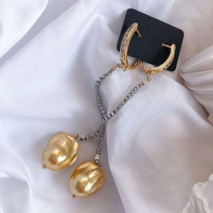 Brass ear stud with cubic zirconia, chain rhinestone strass with stainless steel 304, natural keshi pearl, for pierced ears