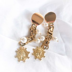 Electroplated brass ear stud 18k plated, coin — brass with cubic zirconia, shell pearl, chain — stainless steel 304, for pierced ears