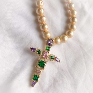 Textured shell pearl, cross — brass with real 18k gold plated, cubic zirconia.
