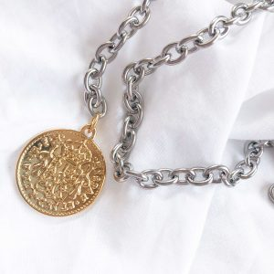 Chain, coin, clasp — stainless steel 304.