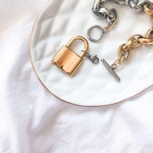 Pendant padlock, chain, ring toggle clasps stainless steel 304